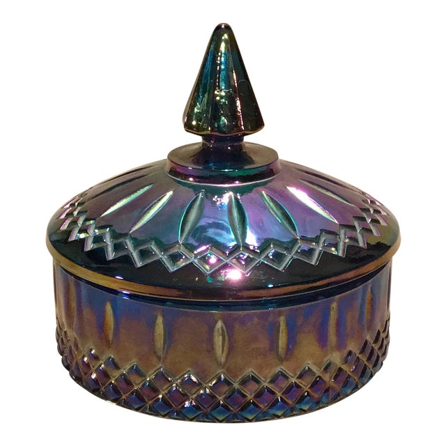 Indiana Glass Co. Mid-Century Carnival Glass Candy Dish - Image 1 of 8