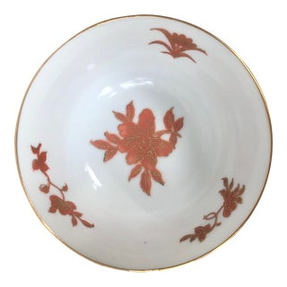 Vintage Hand Painted Gilt Floral Porcelain Bowl For Sale