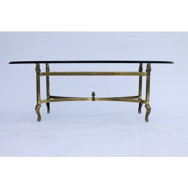 Oval Brass & Glass Coffee Table - Image 2 of 7