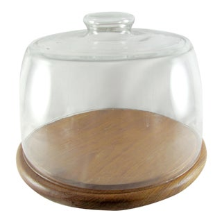 Mid-Century Modern Teak Wood Cake Pastry Plate Stand and Glass Cover Dome For Sale