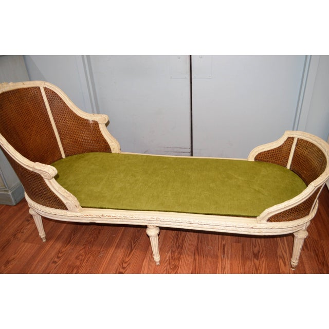 Green 19th Century Louis XVI Style Chaise Longue With Cane, Newly Upholstered. For Sale - Image 8 of 10