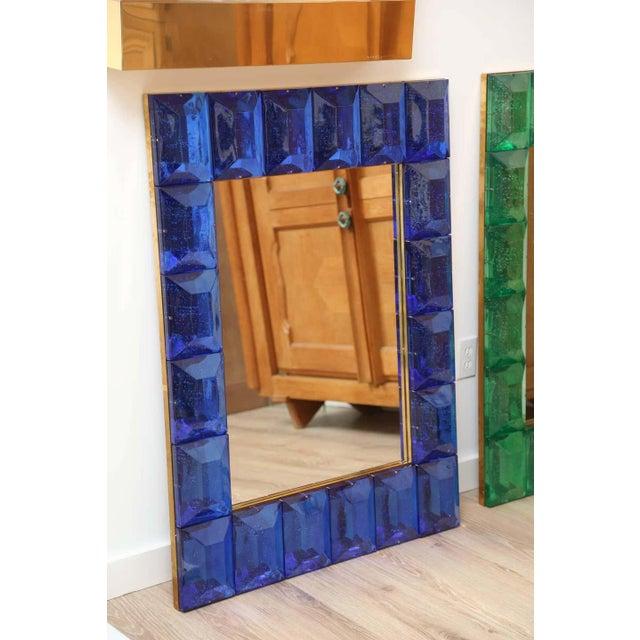 Murano Cobalt Blue Diamond Murano Glass Mirror For Sale - Image 4 of 6