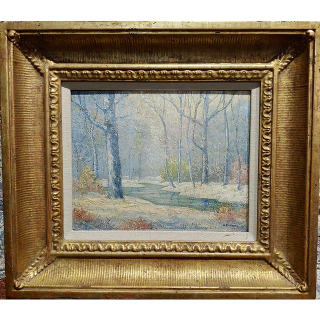 William Krullaars -Winter Solitude by the Creek Landscape - oil painting-c1900s oil painting on board -signed circa...