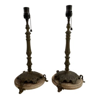 Art Nouveau Metal and Marble Base Lamps - a Pair For Sale