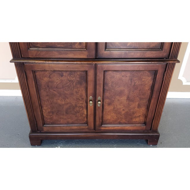 Hekman Furniture Burl Walnut Contemporary Entertainment Tv Armoire Cabinet For Sale In New York - Image 6 of 13