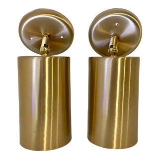 Mid Century Brushed Brass Wall Sconces - a Pair For Sale