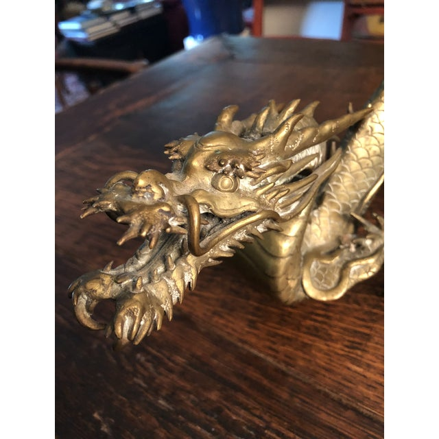 Mid 19th Century Antique Asian Articulated Dragon Sculpture Holding Glass Ball For Sale - Image 5 of 13