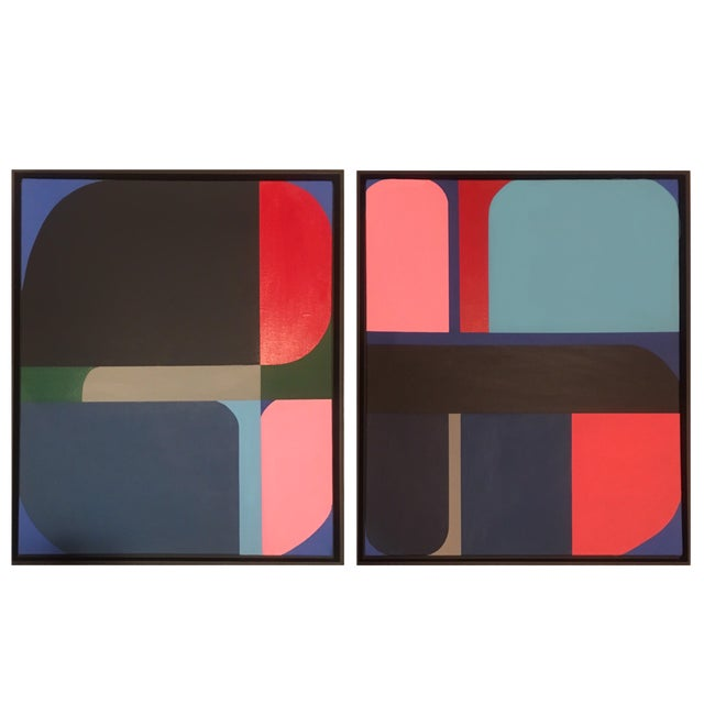 Brooks Burns Framed Original Abstract Geometric Paintings - a Pair For Sale