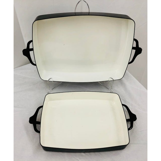 Paint Vintage Black & White Enamel Casserole Dishes by Dansk - Set of 2 For Sale - Image 7 of 11