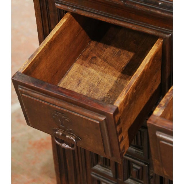 Brown 17th Century Spanish Catalan Carved Walnut Two-Door Buffet Cabinet For Sale - Image 8 of 13