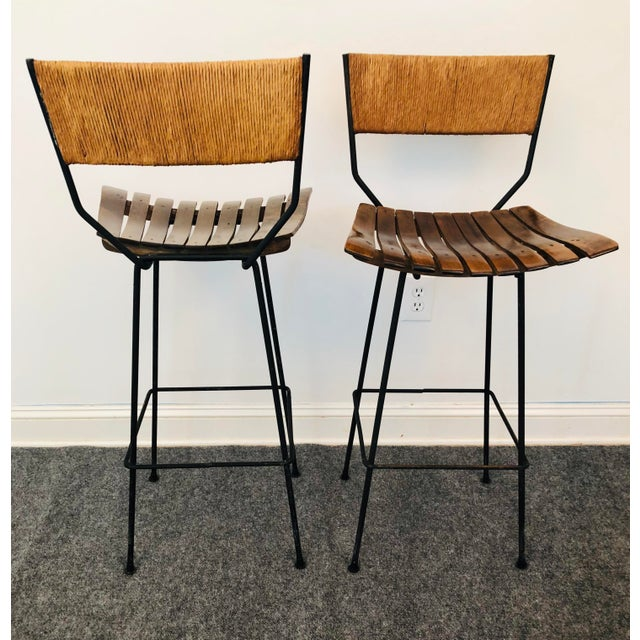 Shaver Howard Mid-Century Modern Arthur Umanoff Slat Bar Stools for Raymor- a Pair For Sale - Image 4 of 9
