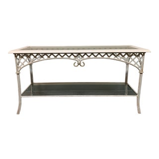 Shabby Chic Metal + Glass Console Table For Sale