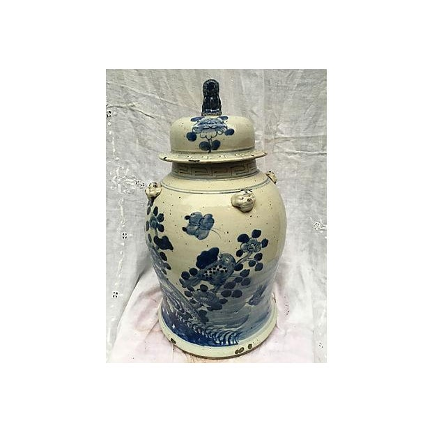 Blue & White Ginger Jar With Foo Dog Lid - Image 2 of 8