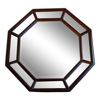 Dark Mahogany Colored Octagonal Wall Mirror For Sale