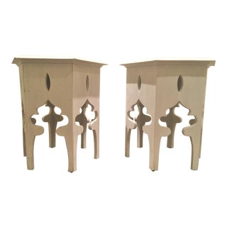 Moroccan Style White Wooden End Tables - a Pair For Sale