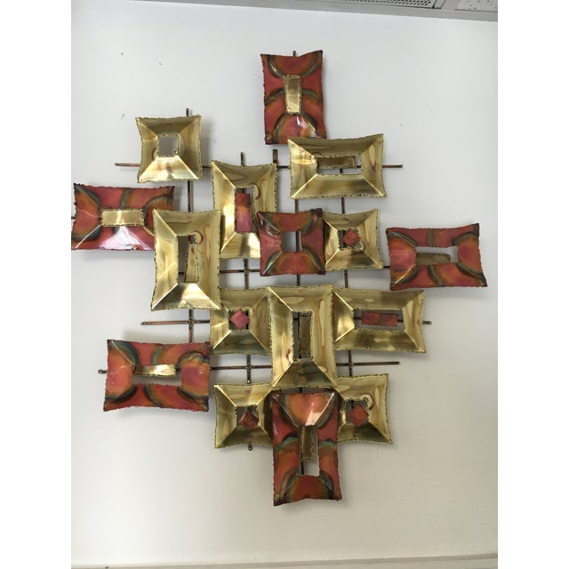 Brass 20th Century Brutalist Brass and Copper Wall Sculpture For Sale - Image 7 of 10