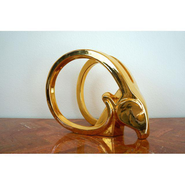 Fabulous 1980s Rams Head / Ibex statue by Jaru. Ceramic with mirror like gold surface. Great with Mid Century Modern or...