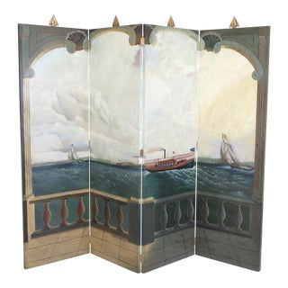 Maitland Smith Large 4 Panel Nautical Room Divider For Sale