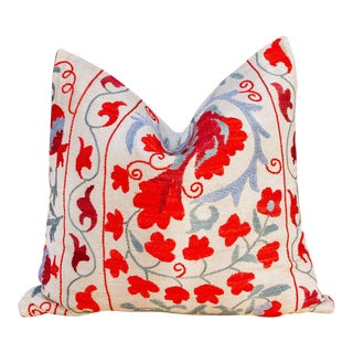 Anarkali Pomegranate & Blue Ivy Uzbek Suzani Pillow For Sale