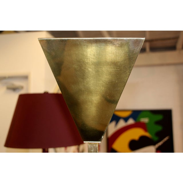 A nicely designed Chapman lamp with a square top. This lamp dates to the 1980s, we believe. The brass is in as found...