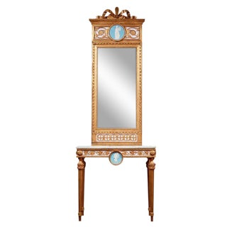 1790's Swedish White Marble and Gilded Console and Mirror For Sale