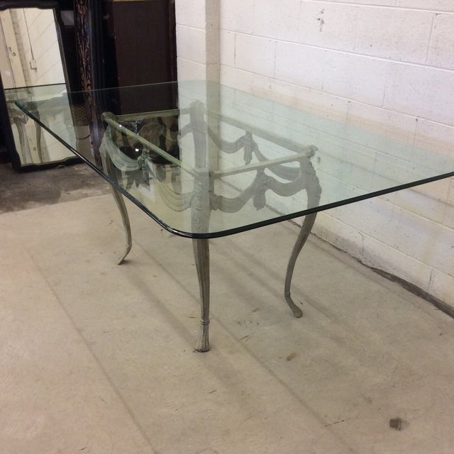 Verdigris Iron And Glass Top French Style Dining Table Chairish