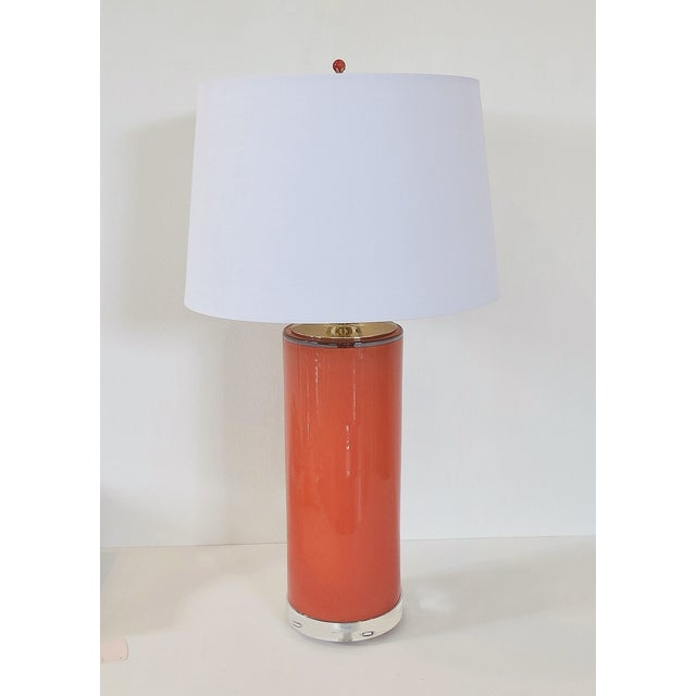 Coral Glass Cylinder Lamp & Shade - Image 2 of 5