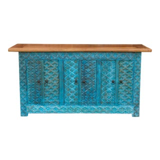 Azul Tetuoan Carved Sideboard For Sale