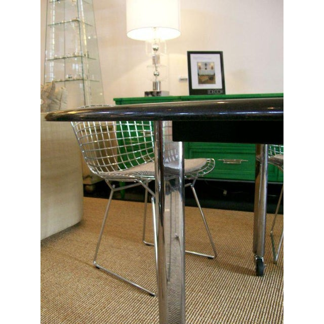 Vintage Joe d'Urso Table on Casters in Polished Black Granite For Sale In Miami - Image 6 of 8