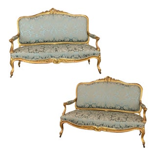 Pair 19th Century French Louis XV Giltwood Canapes ~ Sofas For Sale
