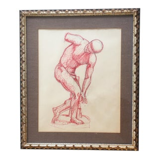 Vintage Original Red Ink Male Life Drawing For Sale