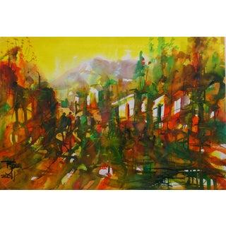 Watercolor Landscape - Forest of Light For Sale