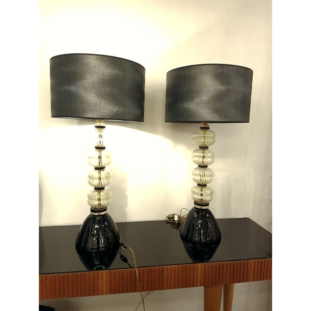 Mid Century Modern Gold/Black Murano Glass Lamps, Venini Style - a Pair For Sale In Dallas - Image 6 of 7