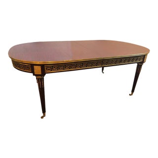 Mahogany Jansen Manner Louis XVI Style Dining Table with Bronze Greek Key Design