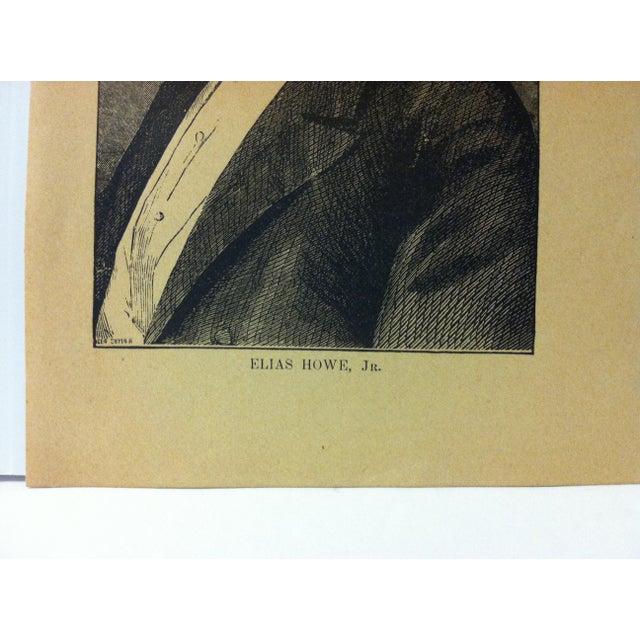 "Portraiture 1880 ""Elias Howe Jr."" Successful Self-Made Men Print on Paper For Sale - Image 3 of 4"