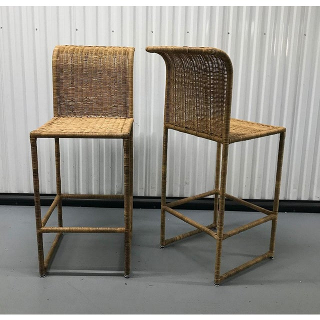 Tan Mid-Century Modern Rattan Bar Stools - a Pair For Sale - Image 8 of 13