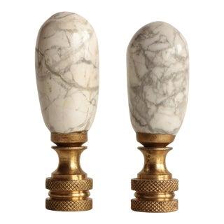 White Marble Lamp Finials, A Pair