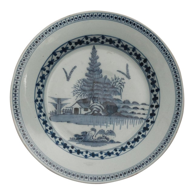 18th-C Delft Chinoiserie Charger For Sale