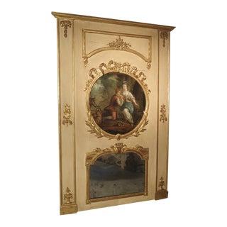 Painted Antique Louis XVI Style Trumeau Mirror, 19th Century For Sale