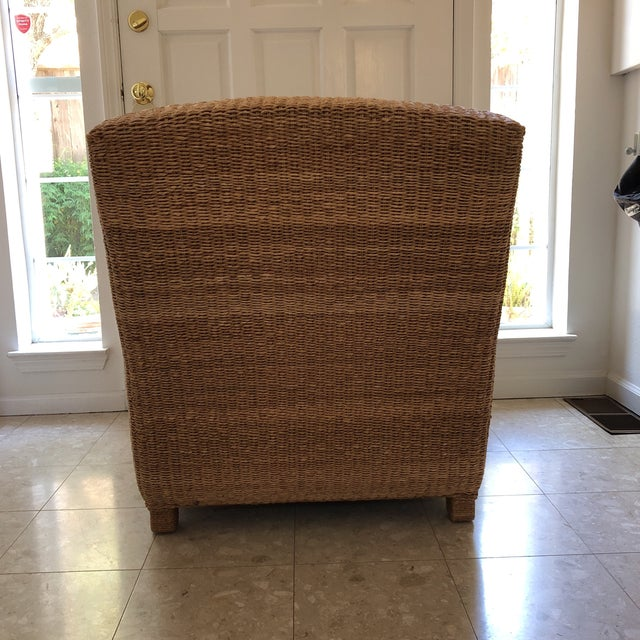 Ralph Lauren Ralph Lauren Herring Net Wicker Armchair With Upholstered Seat and Loose Back Pillow For Sale - Image 4 of 8