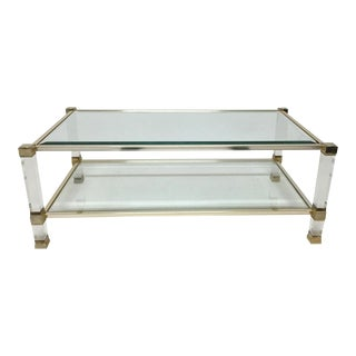 Signed Pierre Vandel Lucite & Gilded Metal Glass Coffee Table For Sale