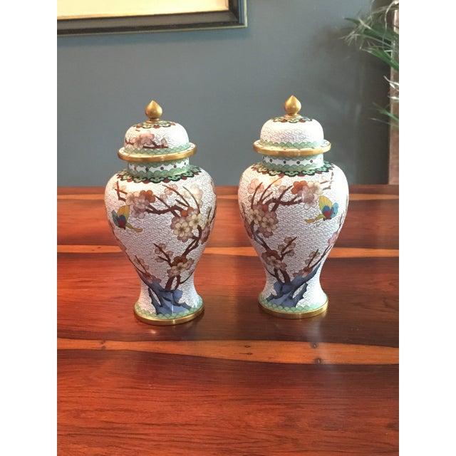 Pair of Chinese Cloisonne Enamel Ginger Jar Vases - Image 2 of 11