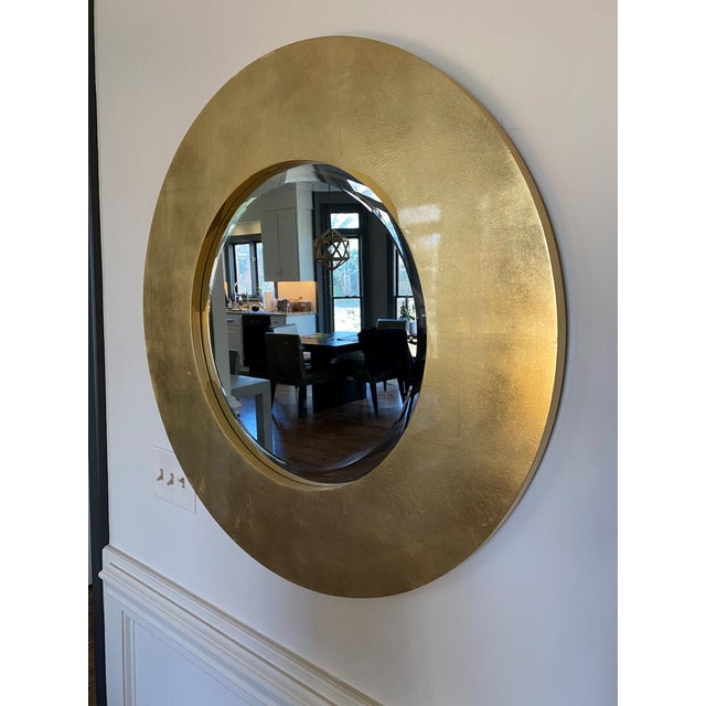 2000 - 2009 Gold Leaf Round Mirror For Sale - Image 5 of 5