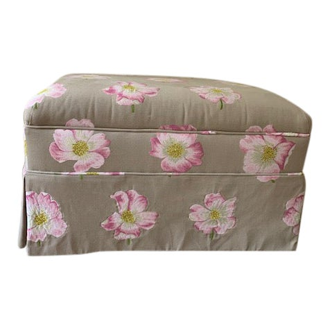 Modern Lorca Embroidered Ottoman For Sale