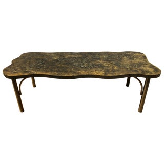 Patinated Metal Coffee Table by Philip and Kelvin LaVerne For Sale