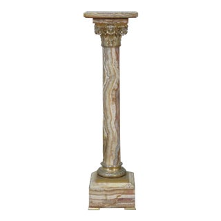 Regency Style Marble / Onyx Pedestal For Sale