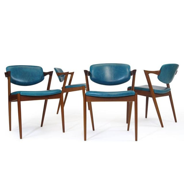 Mid-Century Modern Six Kai Kristiansen Teak Danish Dining Chairs in Turquoise Leather, 20 Available For Sale - Image 3 of 11