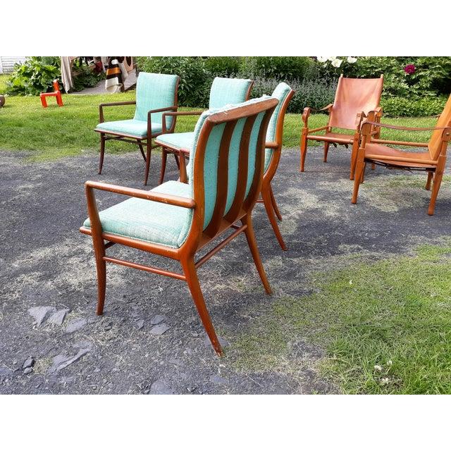 Vintage Mid Century T.H. Robsjohn Gibbings for Widdicomb Saber Leg Armchairs- Set of 4 For Sale - Image 12 of 13