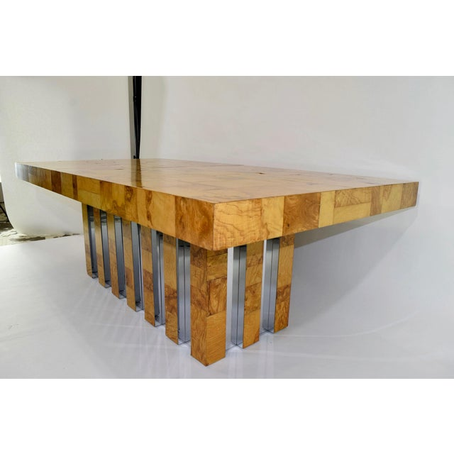 Paul Evans Burl Wood and Chrome Cityscape Dining Table - Image 10 of 10