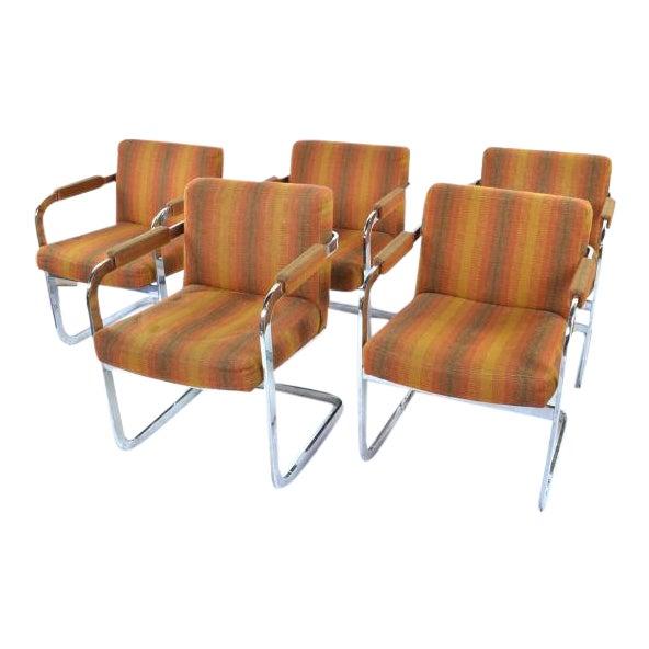 Milo Baughman Thayer Coggins Chrome Armchairs- Set of 5 - Image 1 of 5